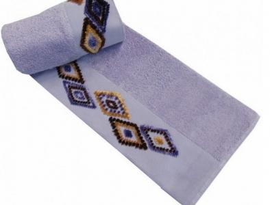 Полотенце с вышивкой ТМ Altinbasak Delux Tendora лиловое