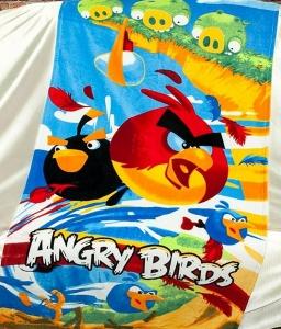 Полотенце велюровое пляжное Турция Angry-Birds 75х150 см
