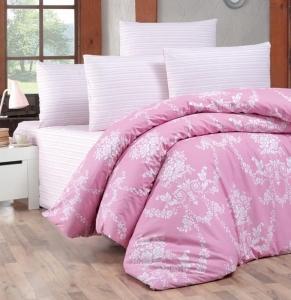 Постельное белье ТМ LightHouse ранфорс Gloria розовое евро-размер