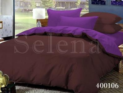 Постельное белье ТМ Selena поплин Шоколадно-Фиолетовый