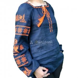 Вышиванка женская Волшебна птица с оранжевой вышивкой 1037.1