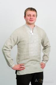 Вышиванка мужская три цвета серый лён с длинным рукавом 2003