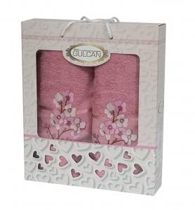 Набор полотенец из хлопка ТМ Gulcan 2 шт Cotton Flowers Plum