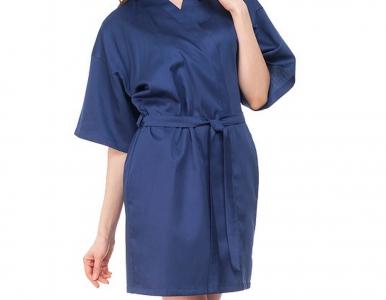 Халат из сатина ТМ Nostra женский короткий 00-4052 Classic Blue Active
