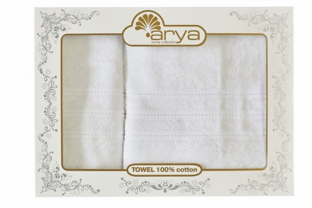 Набор махровых полотенец из 2 шт ТМ Arya Alice белый