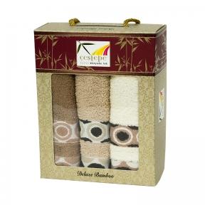 Набор кухонных полотенец из 3 штук Cestepe Bamboo biege bubbles 40х60