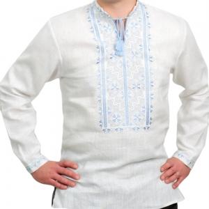 Вышиванка мужская белая с синим рисунком 2004.1