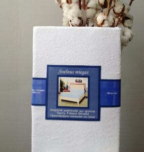Простынь на резинке махровая ТМ Nostra белого цвета 90х200