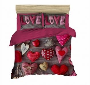 Постельное белье LightHouse ранфорс 3D Love Love евро-размер