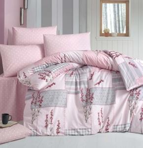 Постельное белье ТМ LightHouse ранфорс Burcak розовый евро-размер
