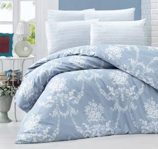 Постельное белье ТМ LightHouse ранфорс Gloria голубое евро-размер