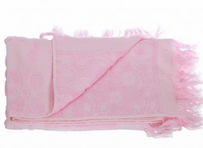 Полотенце махровое с бахромой ТМ Arya Isabel розовое 50Х90