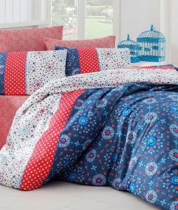 Постельное бельё ТМ Eponj Home ранфорс Spoty Royal Mavi евро-размер