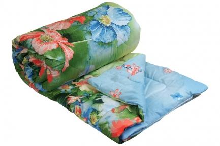 Одеяло двустороннее стежка ромб ТМ Руно Summer flowers голубое