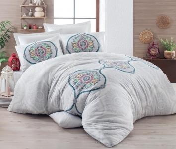 Постельное бельё ТМ Eponj Home ранфорс Flori A.Gri евро-размер