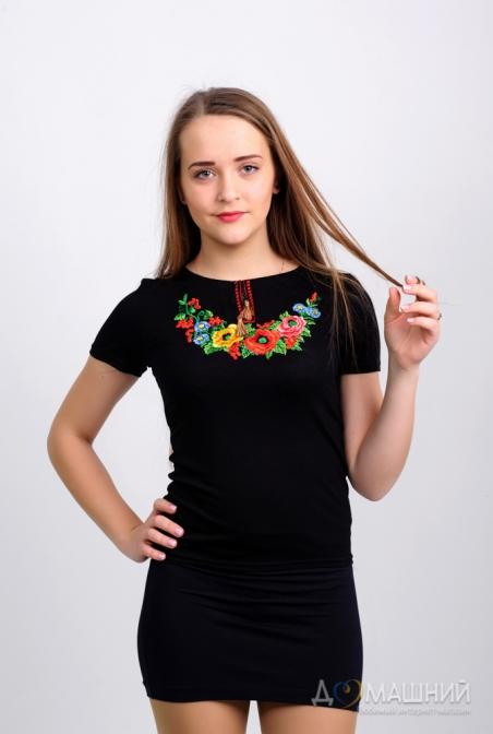 Вышитая футболка женская