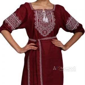 Платье Твори мир 1526 бордовый лен с белой вышивкой короткий рукав