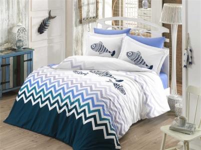 Постельное белье ТМ Hobby Poplin Ocean синий евро-размер