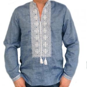 Вышиванка мужская джинс с белой вышивкой 2003.1