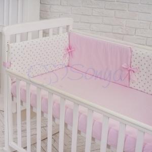 Бортик в кроватку с простыней ТМ Маленькая Соня Comfort мечта розовый