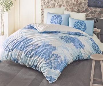 Постельное белье ТМ Luoca Patisca Ranforce Ottorino голубое евро-размер