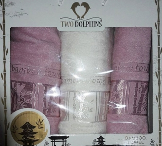 Набор полотенец ТМ Two Dolphins Bamboo towel 3шт pink