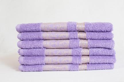 Махровые полотенца люкс с золотым бордюром ОПТ Узбекистан 450г/м2 сиреневое 50х90см