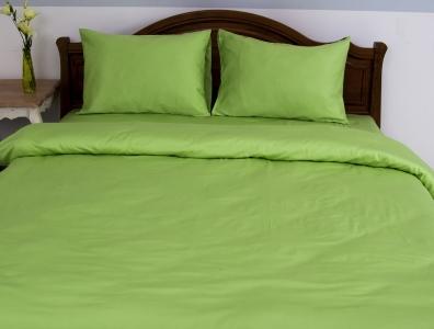 Постельное бельё однотонное ТМ Lotus сатин Классик зеленый евро-размер