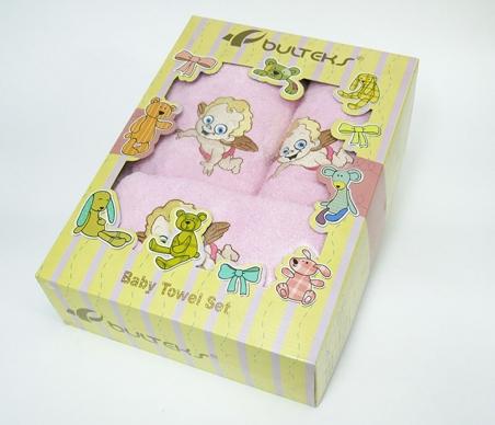 Набор полотенец для купания Bulteks Bebek 3' детский Ангел розовый
