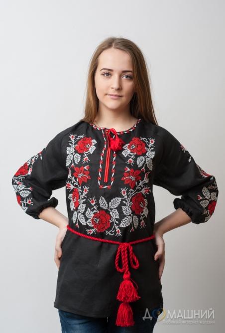 Женская вышиванка Роза полтавская 1006 красный с серым