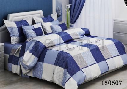 Постельное белье ТМ Selena бязь-light Клеточка 150507 синяя