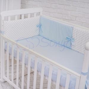 Бортик в кроватку с простыней ТМ Маленькая Соня Comfort мечта голубой