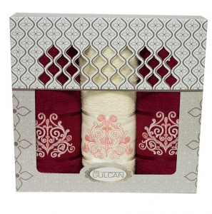 Набор полотенец из хлопка ТМ Gulcan 3 шт Cotton Venz Bordo