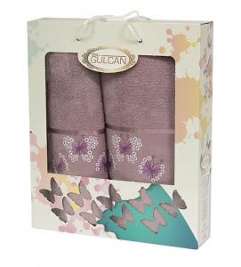 Набор полотенец из хлопка ТМ Gulcan 2 шт Cotton Butterfly Lilac