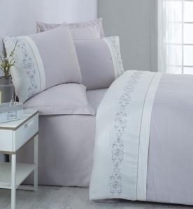 Постельное белье ТМ Cotton Box сатин с вышивкой Tilda Gri евро-размер