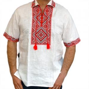 Вышиванка мужская короткий рукав белая с красно-черной вышивкой 0000
