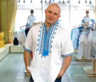Вышиванка мужская короткий рукав Гетьман белая с синей вышивкой 2005