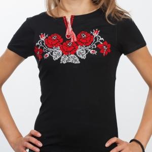 Вышитая футболка Полтавские розы черная 1738