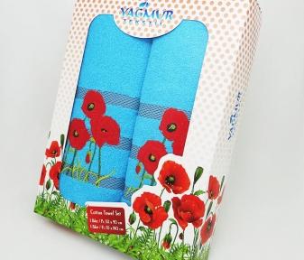 Набор полотенец из хлопка ТМ Yagmur Маки синий