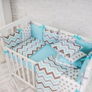 Бортик в кроватку с простыней ТМ Маленькая Соня Baby Design Премиум Индиго голубой