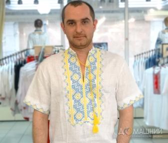 Вышиванка мужская короткий рукав белая с желто-голубой вышивкой 2004
