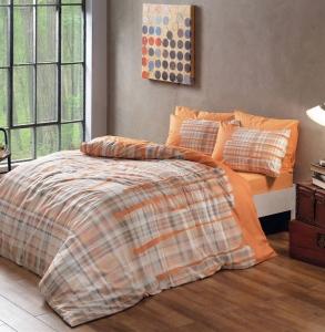 Постельное бельё ранфорс ТМ TAC Linens Davion Orange евро-размер
