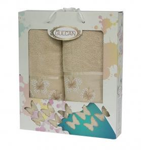 Набор полотенец из хлопка ТМ Gulcan 2 шт Cotton Butterfly Beige