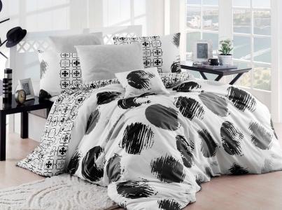 Постельное бельё ТМ Eponj Home ранфорс Gizha Siyah Beyaz евро-размер