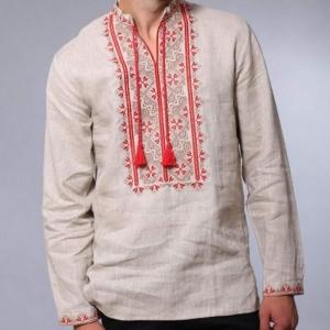 Вышиванка мужская серая с красной вышивкой 2004.1