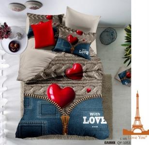 Постельное белье ТМ Love You полисатин (qy 1053) евро-размер