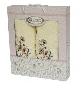 Набор полотенец из хлопка ТМ Gulcan 2 шт Cotton Flowers Cream
