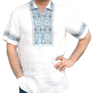 Вышиванка мужская короткий рукав белая с сине-черной вышивкой 0000
