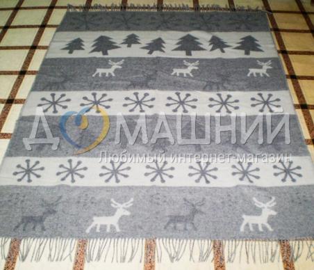 Плед шерстяной ТМ Vladi Олени новые серый 140х200см
