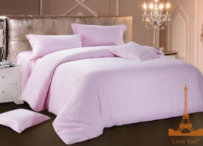 Постельное бельё ТМ Love You страйп-сатин розовый цвет евро-размер